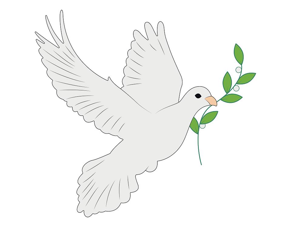 Dove with Olive Branch in beak