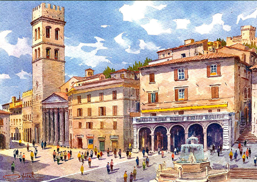 Watercolor: The Piazza in Assisi Italy
